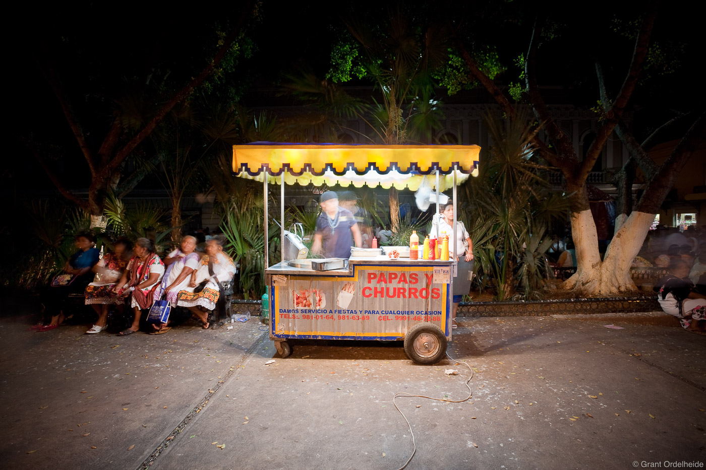 churro, man, works, stand, town square, merida, yucatan, capital city, mexico, photo