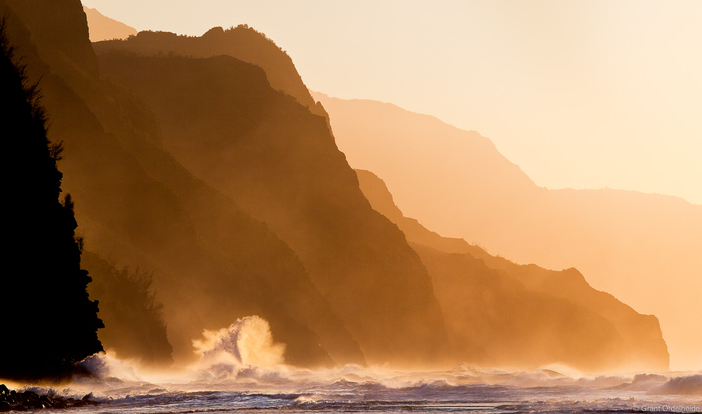 ke'e, beach, wave, na pali, kauai, hawaii, crashes, rugged, coastline, north, shore, photo