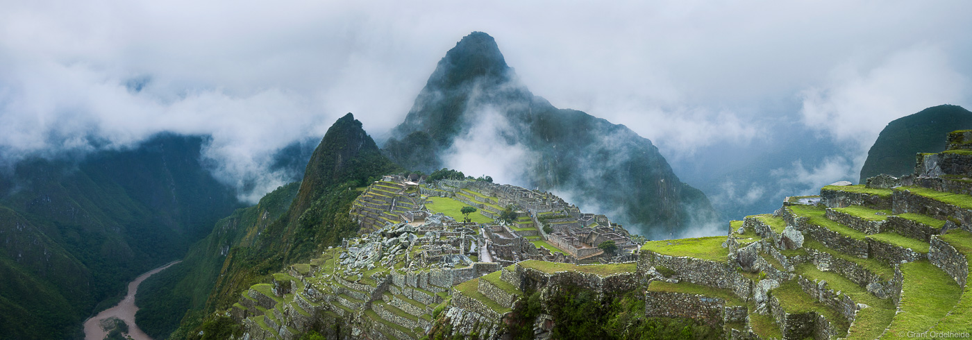 machu, picchu, aguas, calientes, peru, famous, incan, ruins, panorama, photo