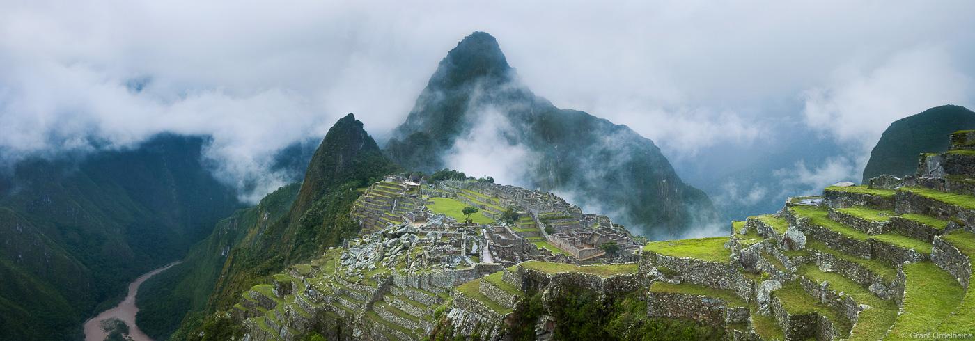 A panorama of the famous Machu Piccu Incan ruins in Peru.