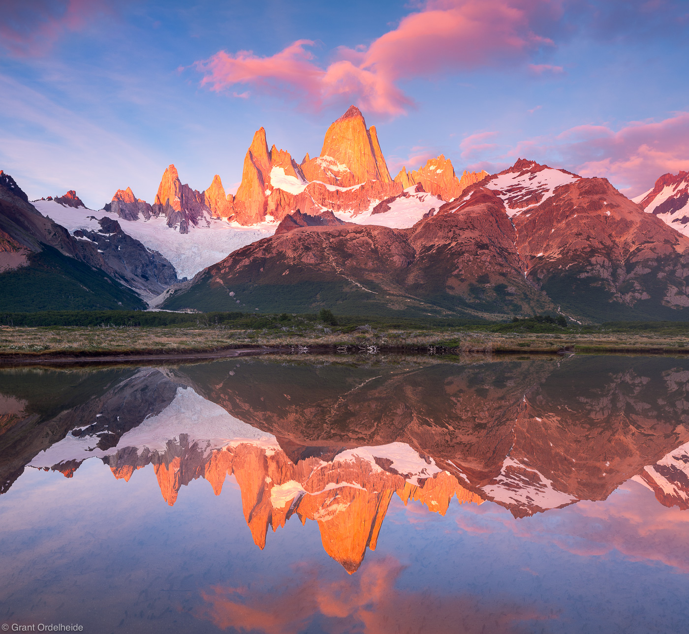 mount, fitzroy, reflection, el chalten, argentina, poincenot, pond, campground, photo