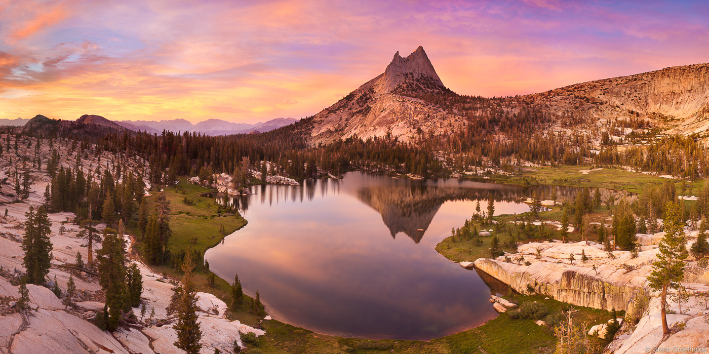 cathedral peak, sunset, yosemite, national park, california, usa, upper, lake, high, country, photo