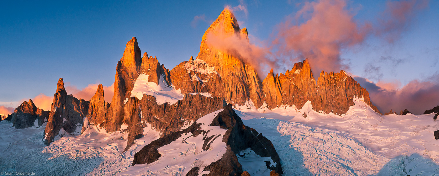 fitzroy, massif, el chalten, argentina, sunrise, mount, summit, cerro madsen, climbed, cold, windy, view, world, photo