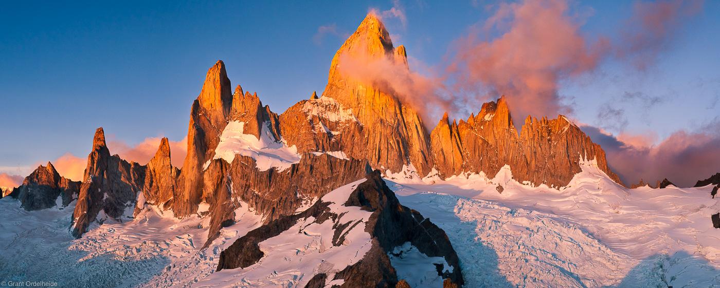 fitzroy, massif, el chalten, argentina, sunrise, mount, summit, cerro madsen, climbed, cold, windy, view, world, photo