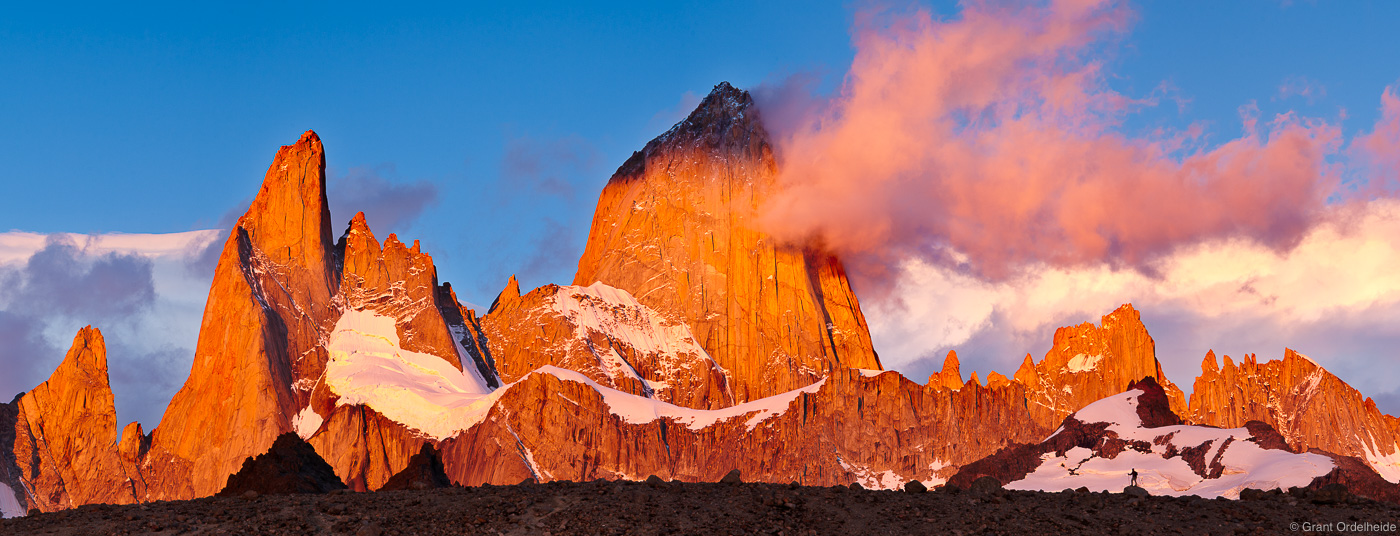 fitzroy, perspective, lone, hiker, silhouetted, massive, mount, sunrise, photo