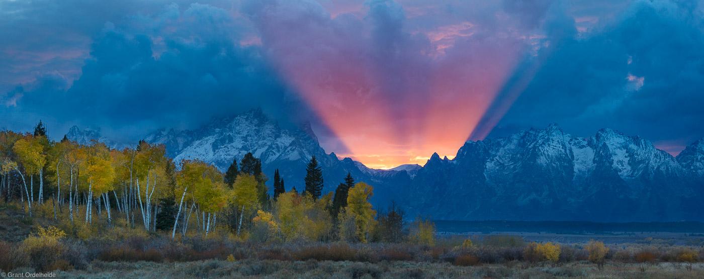 teton, god, beam, grand, national, park, wyoming, usa, amazing, display, light, autumn, jackson, photo