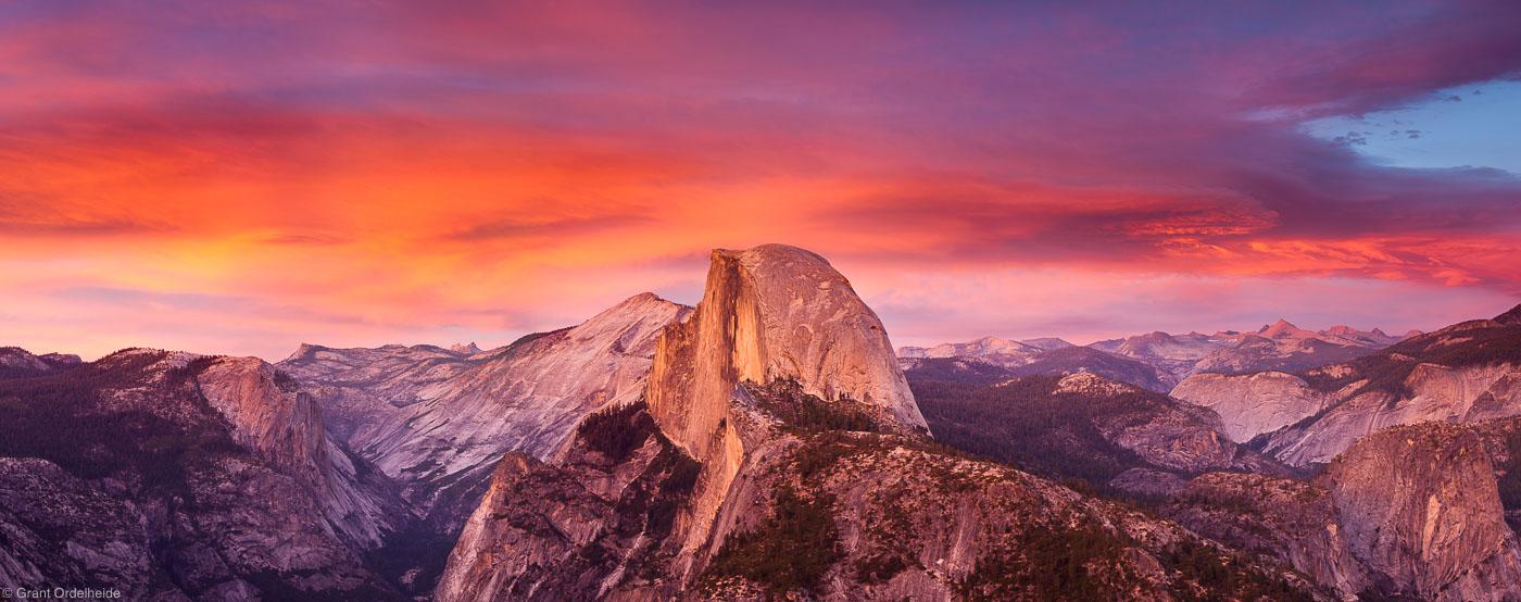 glacier point, yosemite valley, national park, california, usa, sunset, light, half dome, photo