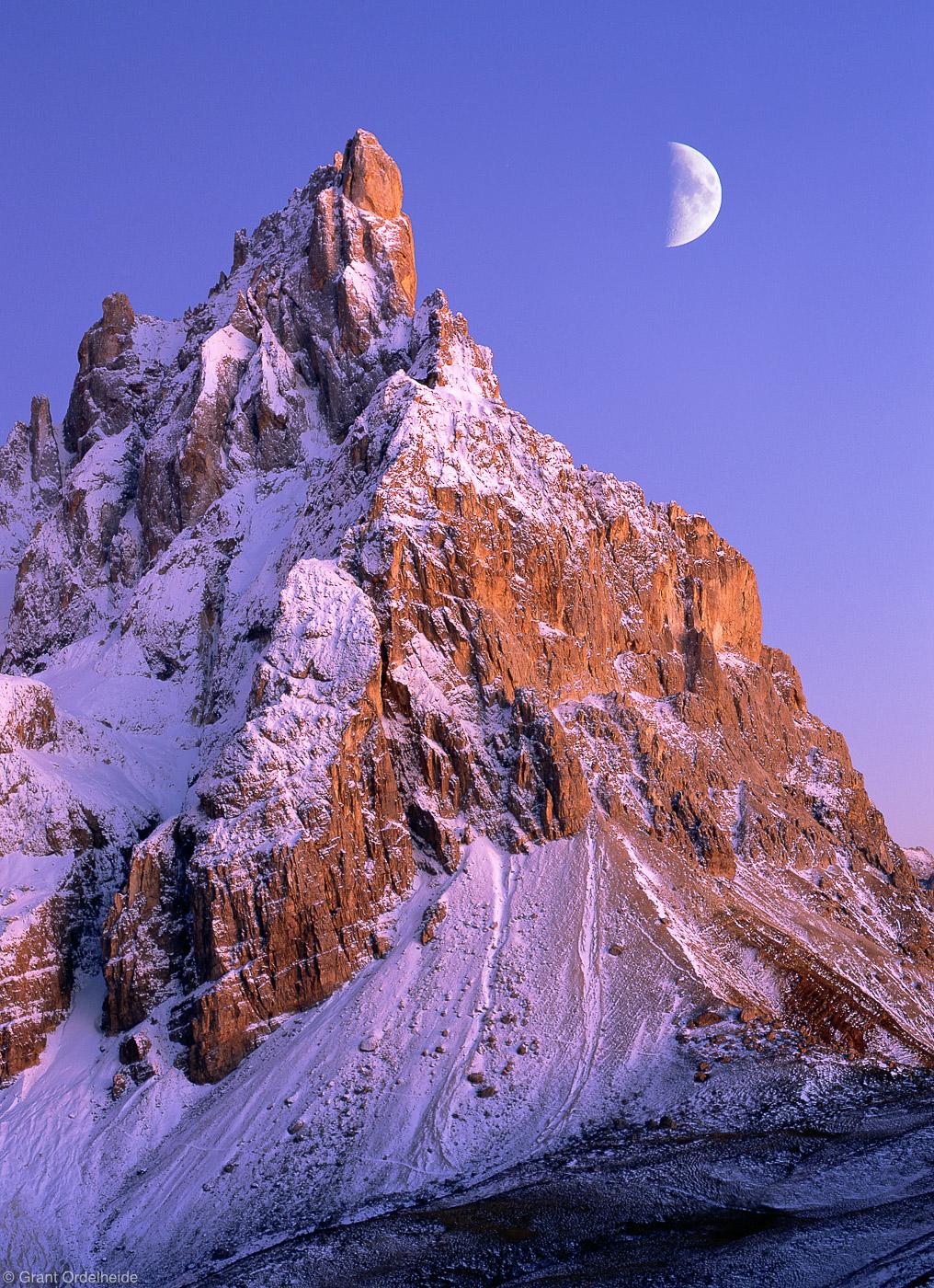 pala, cimon, della, italy, san martino di castrozza, moon, sunset, double exposure, film, beautiful, night, photo