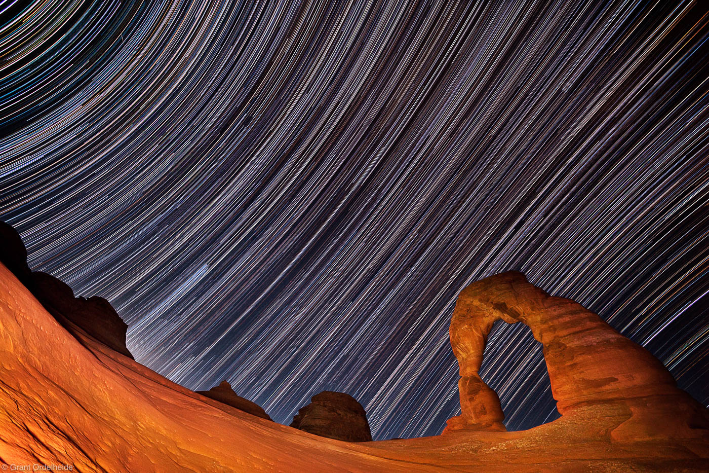 delicate arch, arches national park, moab, utah, stars, sandstone, bowl, composition, steep, patiently, long exposure, s, photo