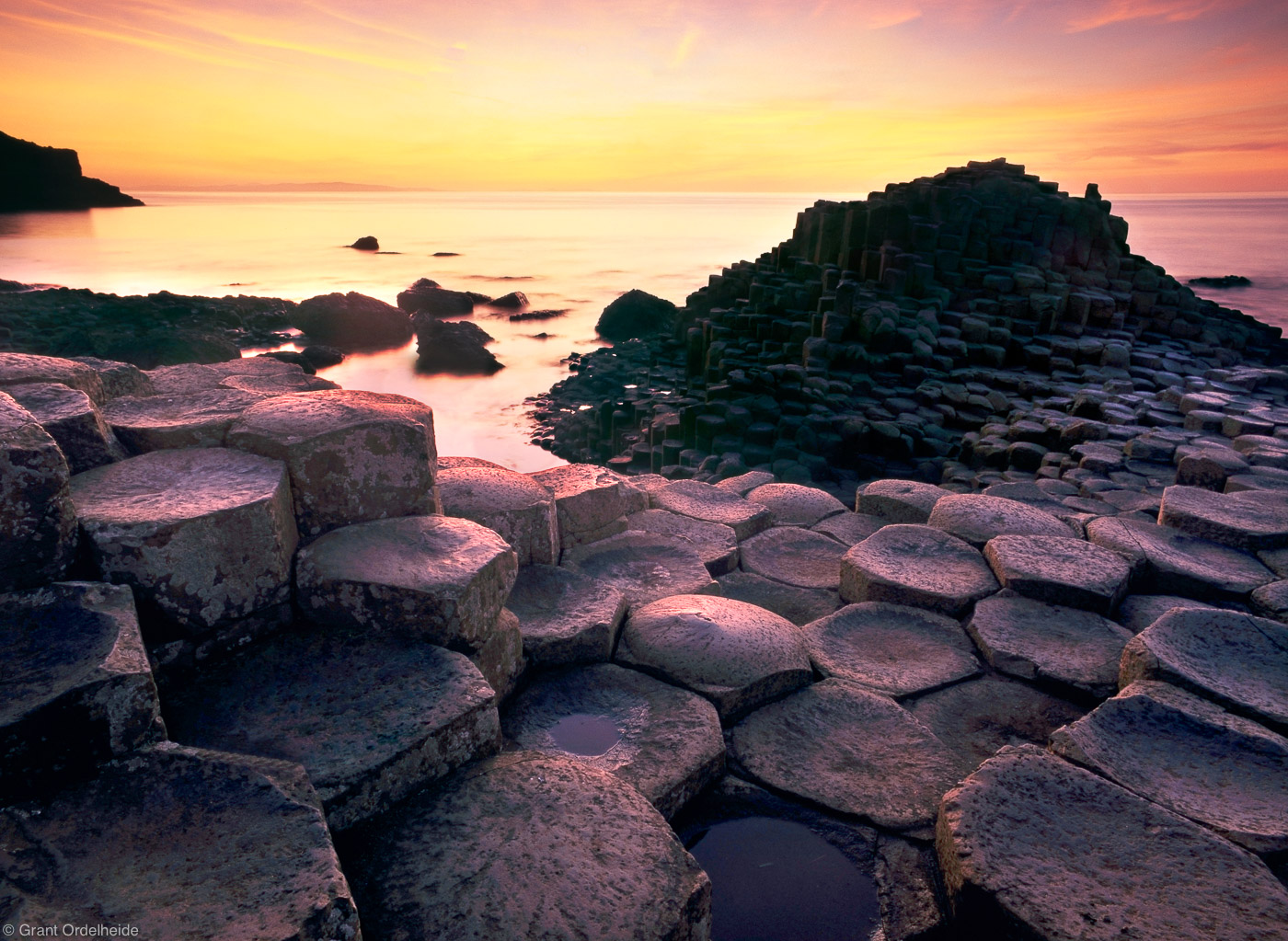 giants causeway, giant's, northern, ireland, sunset, amazing, basalt, columns, together, naturally, bushmills, , photo